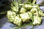 Ketupat shells made from woven palm leaves