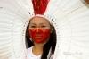 """Brazilian Indian participating the """"Lavage de la Madeleine"""" in Paris"""