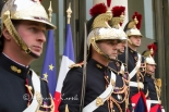 Republican Guards standing  in front of the Elysee Palace prior to the arrival of Mariano Rajoy, the Spanish Prime Minister