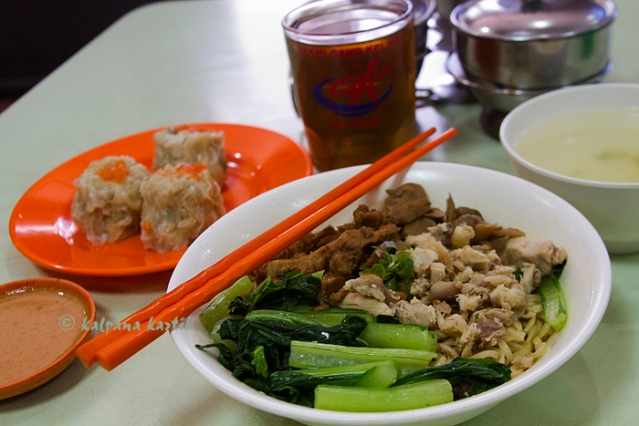 Chicken noodles and Siomay (steamed fish dumpling)