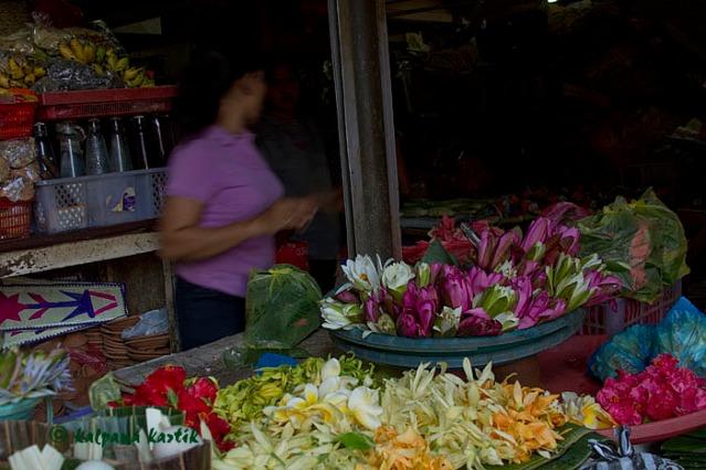 Flower seller in Badung market Denpasar Bali