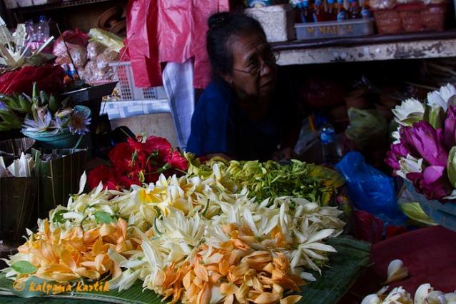 Flowers seller in Badung market Denpasar Bali