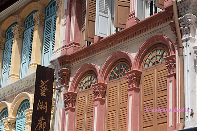Colourful windows in Chinatown Singapore