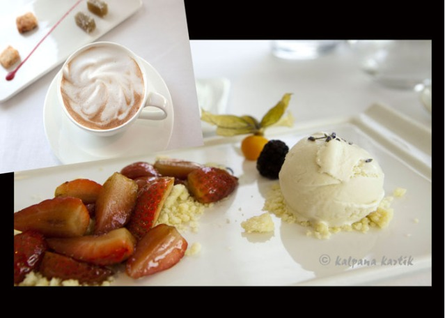 Coffee Viennoise and Lavender ice cream with fruits