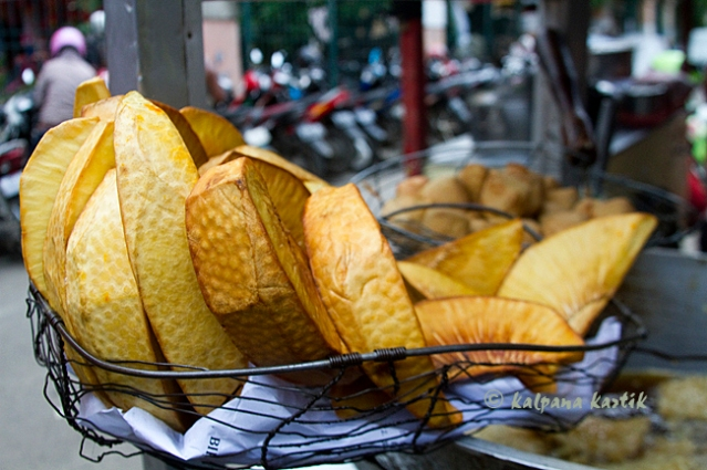 Fried Sukun or breadfruits sold by peddlers along the streets of Jakarta