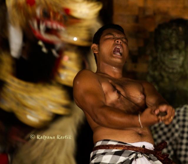 Barong kris dancer in trance