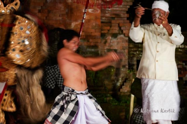 Barong kris dancers in trance
