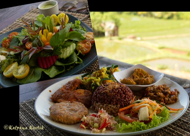 Fresh organic garden salad and Nasi Campur at Bodag Maliah Sari Organik