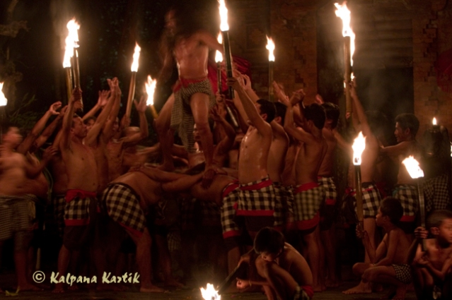 I Ketut Rina performing the Kecak Monkey dance