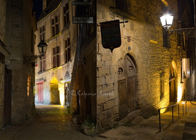 Twilight walks in the  Medieval streets of  Sarlat