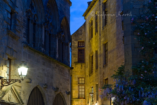 The Medieval city of Sarlat at dusk