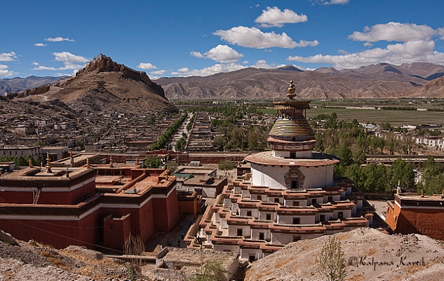 View of the Kunbum within the walls of the Pelkor Chode monastery in Gyantse