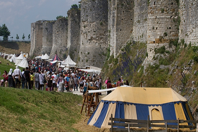 Tents and stalls placed along the ramparts of  Provins during the annual Medieval Fair