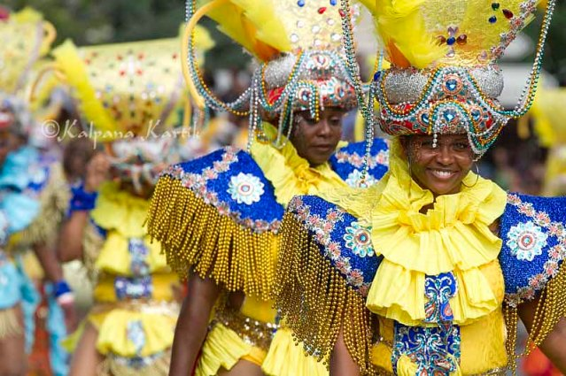 West Indian dancers in their colourful costumes