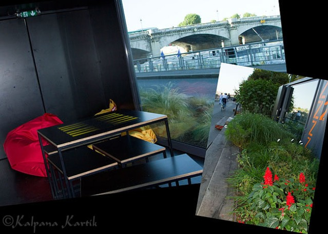 "relaxing ""chambers"" along the promenade of the Seine river"