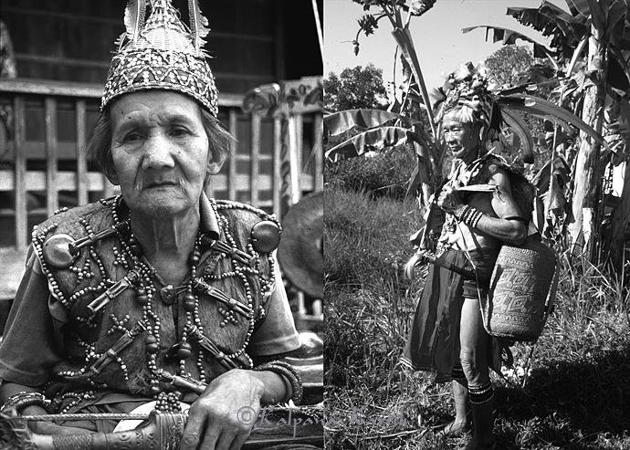 An Benuaq Dayak holding his sword (mandau)(left) Kenyah Dayak (right)