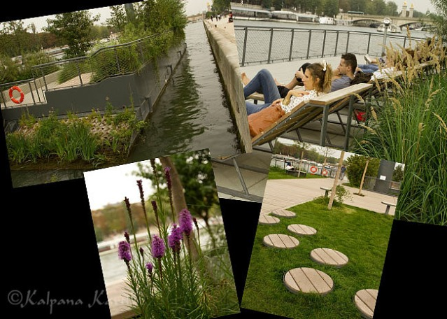 Relaxing on the floating gardens while enjoying the river Seine