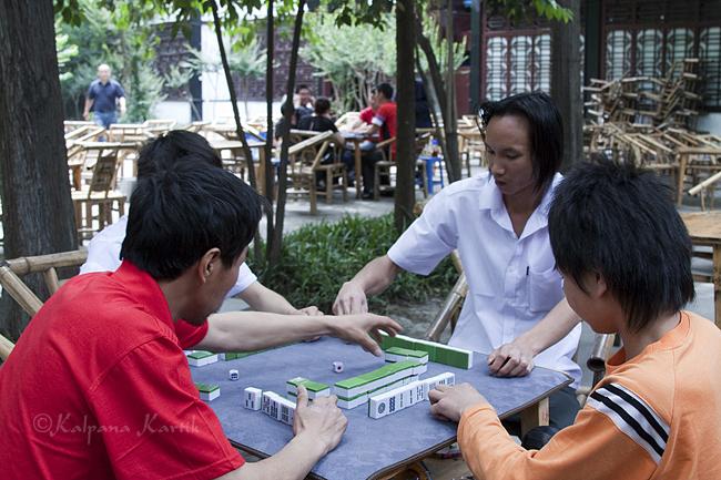 Playing games  in Renmin Tea House Chengdu