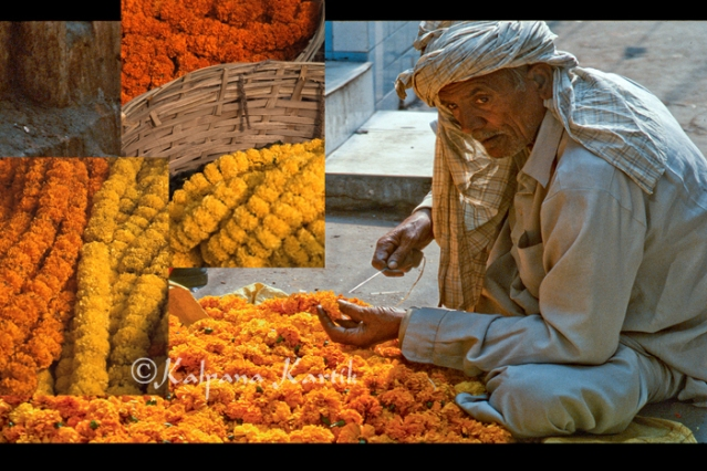 Making garlands of flowers for Diwali festival in Old Delhi