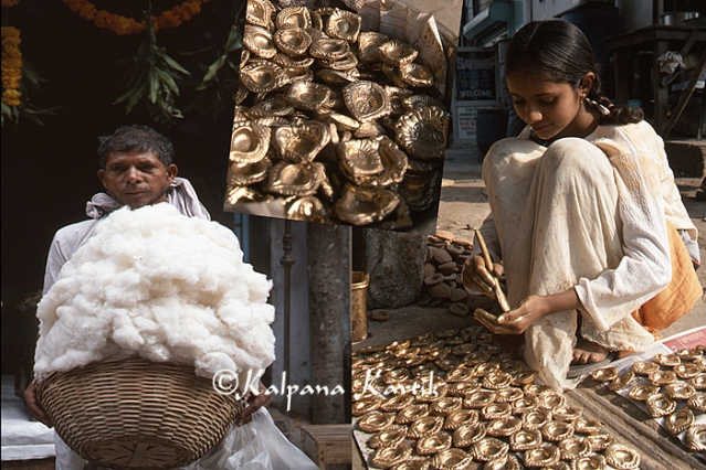 Cotton seller (to use as wicks for oil lamps)  and making clay pots for oil lamps