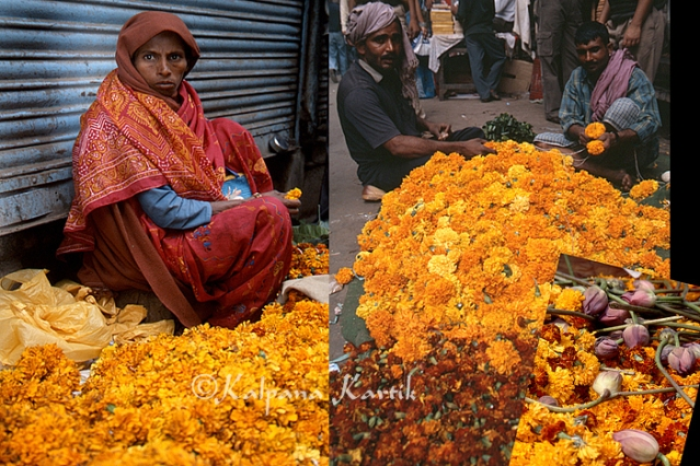 Flower sellers in Old Delhi