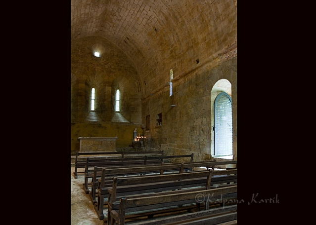 Interior of the old church of Redon-Espic in Dordogne