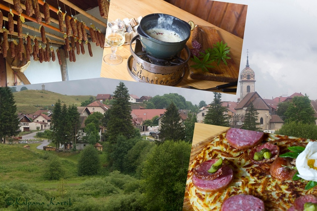 An alpine meal in a typical mountain farm in the Jura mountains