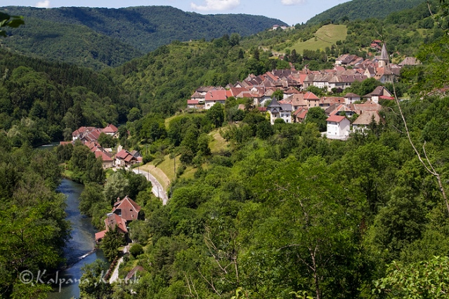 Scenic view of Mouthier-Haute-Pierre along the Loue River Valley