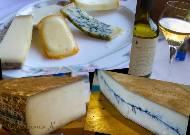 The cheeses of the Jura mountains, Comté, Morbier, Bleu de Gex, Mamirolles, Cancoillotte  and the local yellow wine