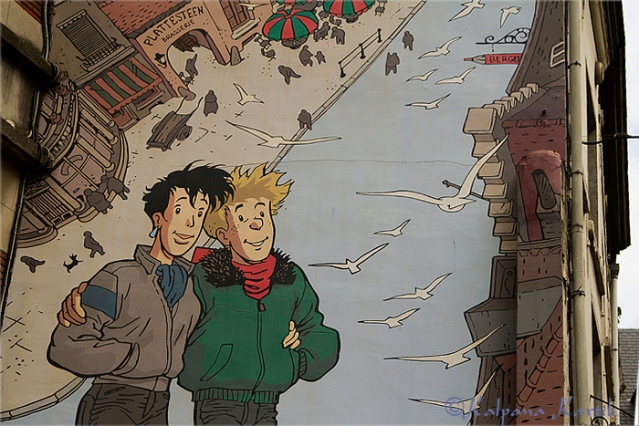 Brousaille, comic strip mural created in 1991 by Frank Pé