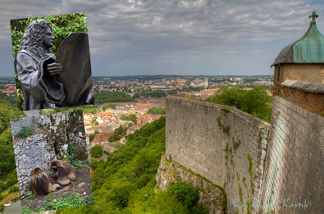Statue of Vauban, the monkeys and view of Besançon from the impressive Vauban Citadel in Besançon