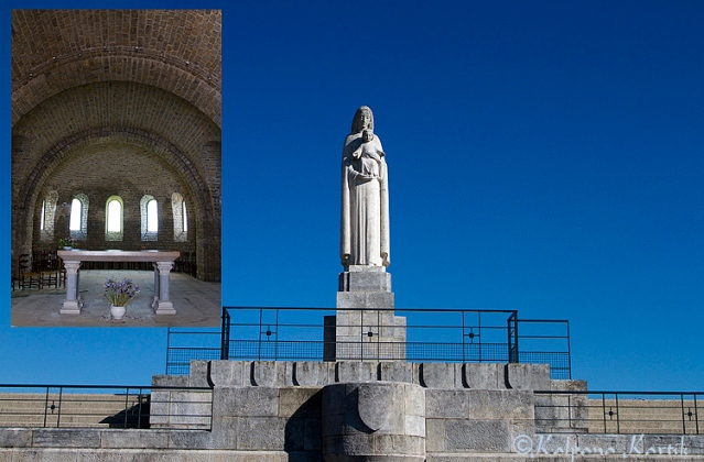 Statue of Mary and interior  church of Our Lady of Liberation Memorial for World War II in Chapelle des Buis Besançon