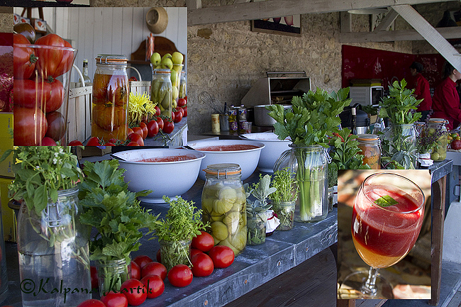 Tomato bar ibn the conservatory of tomatoes at Château de la Bourdaisière with an array of mouthwatering delicacies