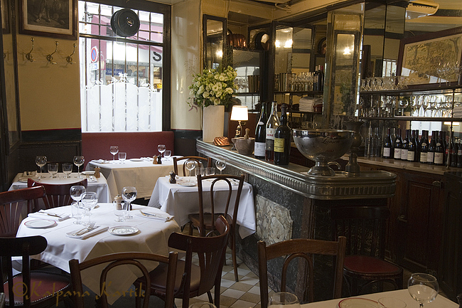 Interior of the historic restaurant Allard in Paris