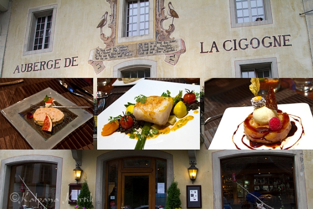A delicious dinner at the Auberge de la cigogne.