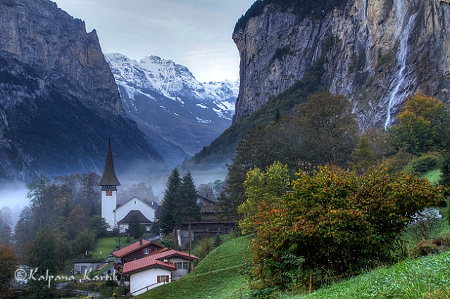 The misty valley of Lauterbrunnen