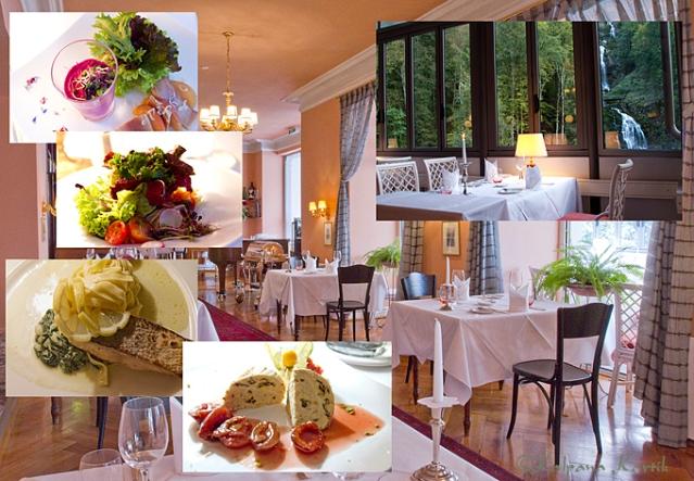 Les Cascades restaurant at the Grand Hotel Giessbach