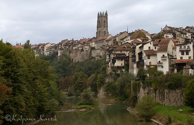 The picturesque town of Fribourg along the river Sarine