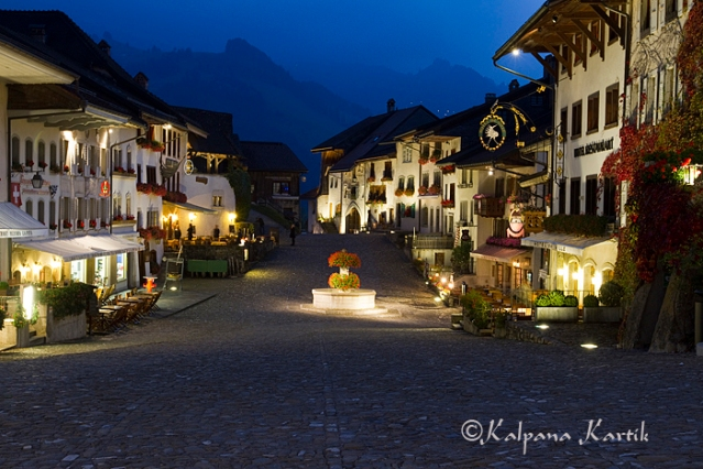 Twilight in the Medieval town of Gruyères