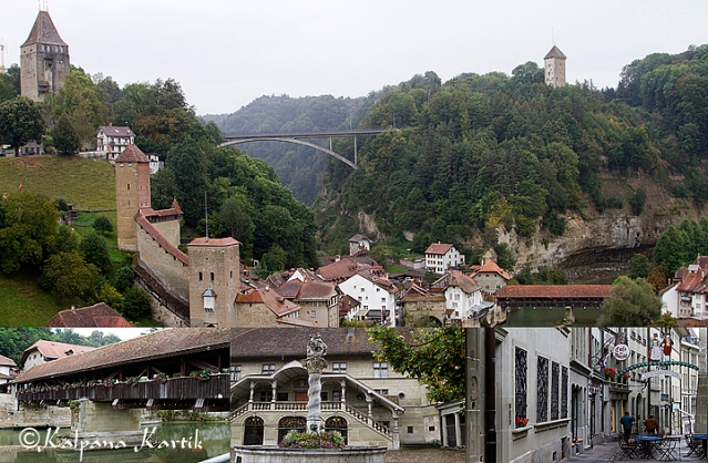 The picturesque medieval town of Fribourg, with its wooden bridge Pont de Berne, Saint Georges fountain and the famous rue des épouses