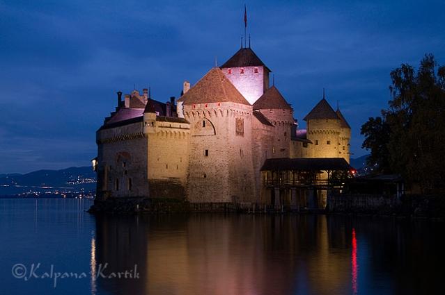 Twilight in Chillon castle