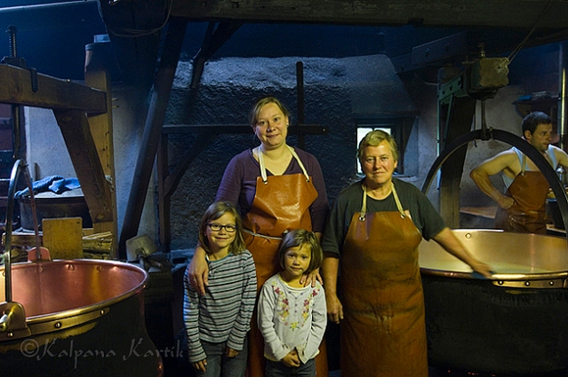 The cheese making family in their chalet in La Monse La Gruyère region