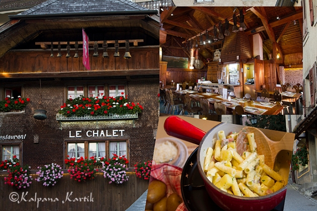 Chalet macaroni mountain dish at Le Chalet in Gruyères
