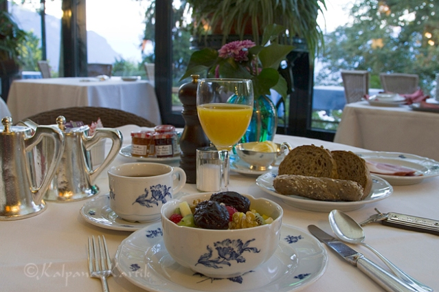 Terrace breakfast room at the Victoria Glion