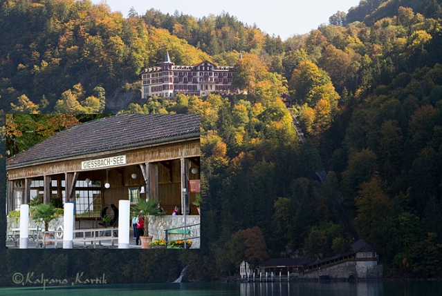 The boat pier and the Grand Hotel Giessbach