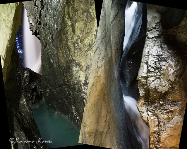 The spectacular show of the Trümmelbach Falls in Lauterbrunnen Valley in Bernese Oberland