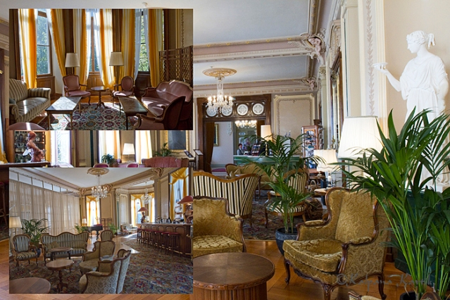 Interior lounge and reception hall of the Grand Hotel Giessbach