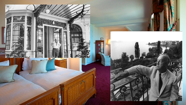 Vladimir Nabokov Suite and the novelist in Montreux Palace (Arch. Montreux Palace)