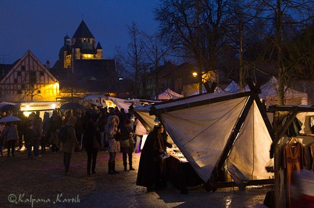 Medieval twilight market in Provins