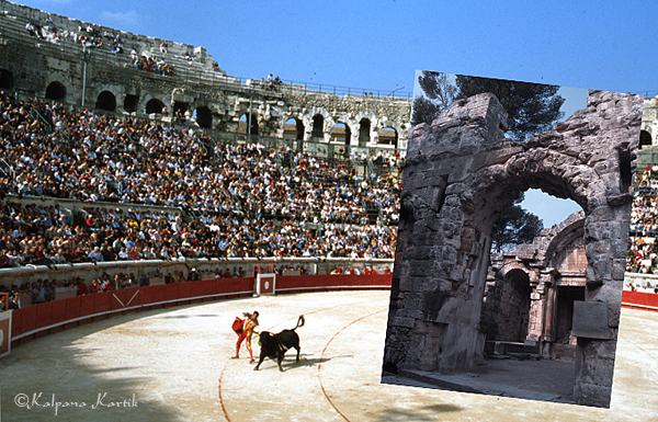 Bullfight held at the ancient Roman amphitheater in Nîmes, and remnants of the Temple of Diana in Nîmes